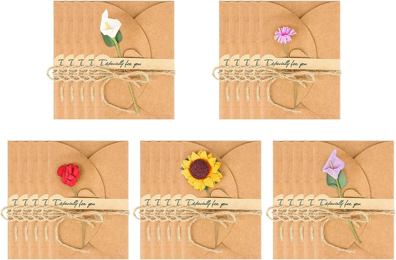 Jubaopen 25Pcs Tarjeta de Felicitación Papel Kraft Sobres con Flores Secas, Tarjeta Regalo, Tarjeta de Agradecimiento de Papel Kraft con Flores para Regalo Cumpleaños Amistad(5 Tipos de Flores)