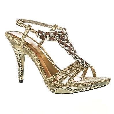 Womens Diamante Sandals High Heels Jeweled Sling Back Sandal Small Platform  Shoes 3 GOLD d1af314420