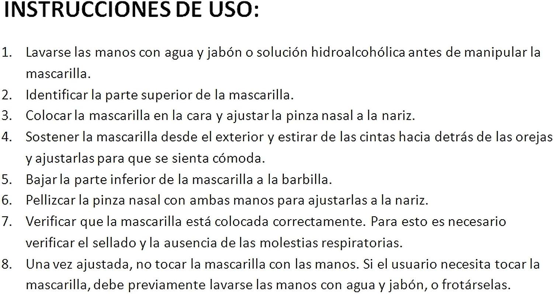 3 Capas Pack 30 Unidades Color Blanco Dino TBOC Mascarilla Higi/énica Ni/ños No Reutilizable -