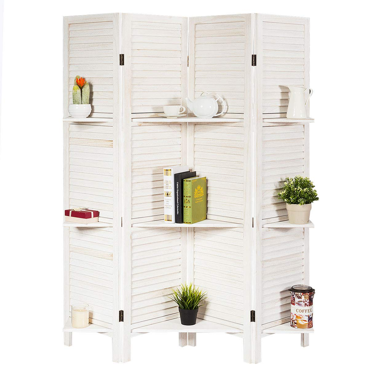 Giantex 4 Panel 5.6 Ft Tall Wood Room Divider, Folding Privacy Room Divider Screen w/ 3 Display Shelves for Home, Office, Restaurant, Bedroom (White) by Giantex