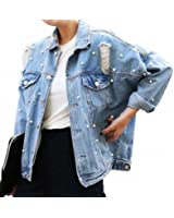 Personality Pearls Jean Jacket Womens NEW Street Vogue Frayed Loose Jaqueta Jeans Feminina Long Sleeve Chaquetas