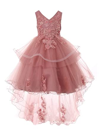 72a47c3eded Little Girls Mauve Lace Applique Sequin Pearl Tulle Flower Girl Dress 2