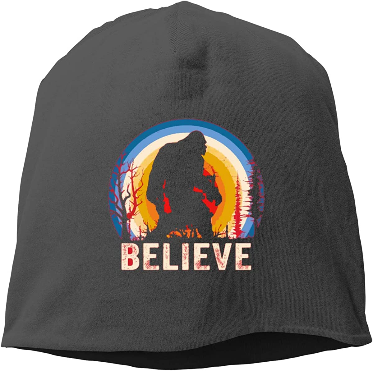 I Believe Bigfoot Skull Cap Helmet Liner Beanie Cap for Men Hip Hop Hedging Head Hat