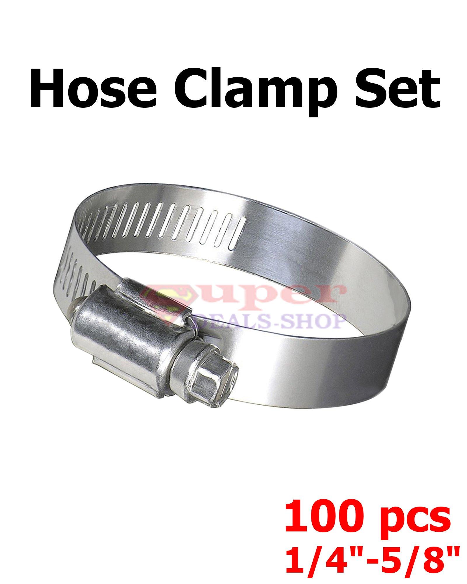 Steel Hose Clamp Radiator Hose Clamp Adjustable Stainless Steel Hose Clamp Super-Deals-Shop (100 1/4'' - 5/8'') by SDShop