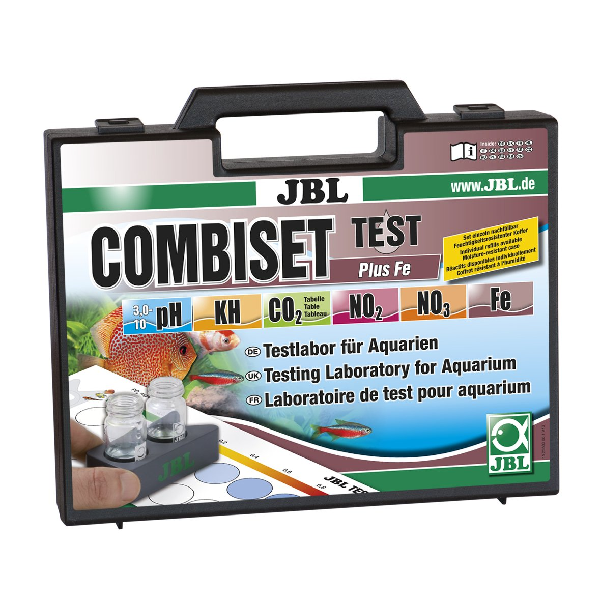JBL Test Combi Set Plus Fe, Coffret de tests des principaux paramètres d'eau en aquarium d'eau douce, Test fer inclus 2550000 B000H6SQK8