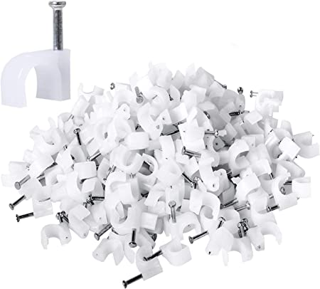 100pcs Round Cable clips With Nail  white Wire Clips Cable Management