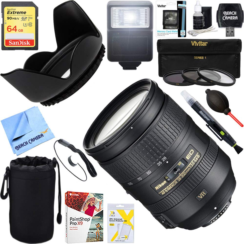 Platinum Accessory Bundle W// 52mm Wide-Angle /& Telephoto Lens Variety of Filters Lens Pouch Nikon AF-S DX NIKKOR 18-55mm f//3.5-5.6G VR II Lens XPIX Lens Accessories 16GB SD Card