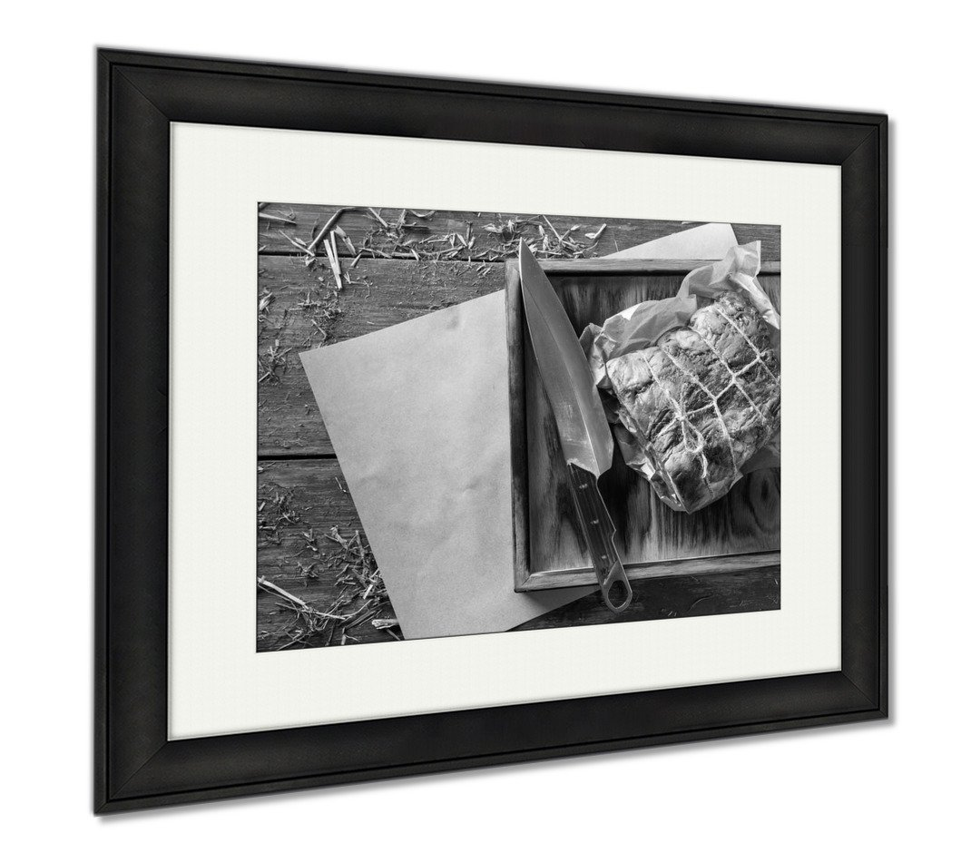 Ashley Framed Prints Raw Aged Prime Black Angus Beef In Craft Papper On Rustic Wood, Wall Art Home Decoration, Black/White, 26x30 (frame size), Black Frame, AG6384427