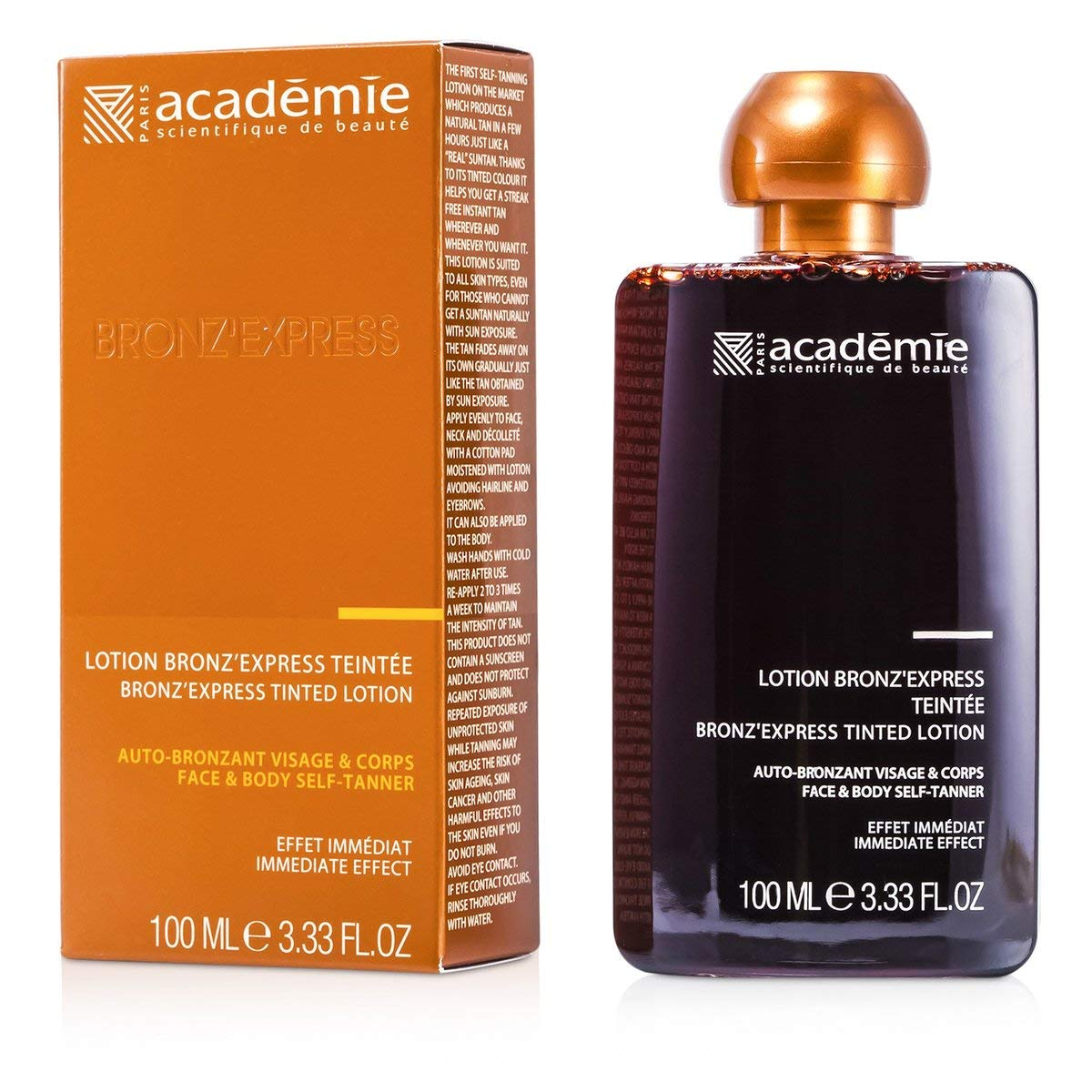 ACADEMIE - Bronz' Express Face and Body - 100ml - Tinted Self Tanning Lotion - Sun Care & Bronzers (Face) - Fine Texture For Easy Application - Delicately Scented With A Floral - Hong Kong