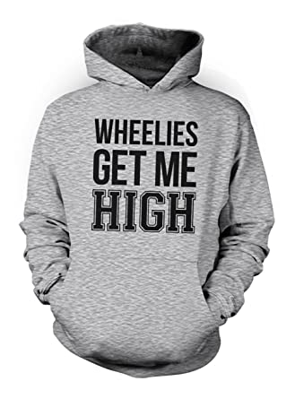 Wheelies Get Me High Bike Biker Motorcycle Herren Hoodie Sweatshirt Grau  Small