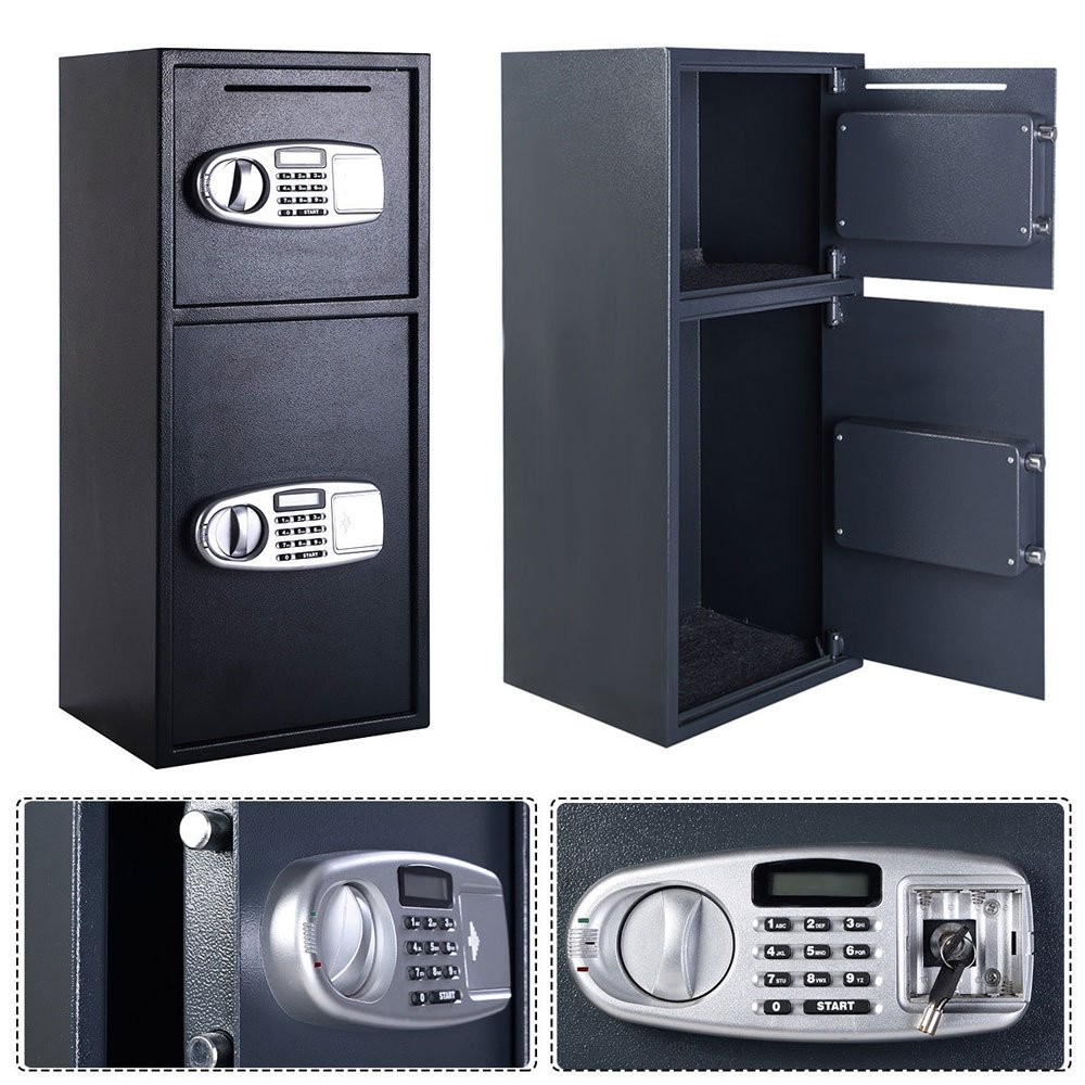 FCH Digital Double Door Safe Depository Box for Cash Office Security Lock Drop Boxes