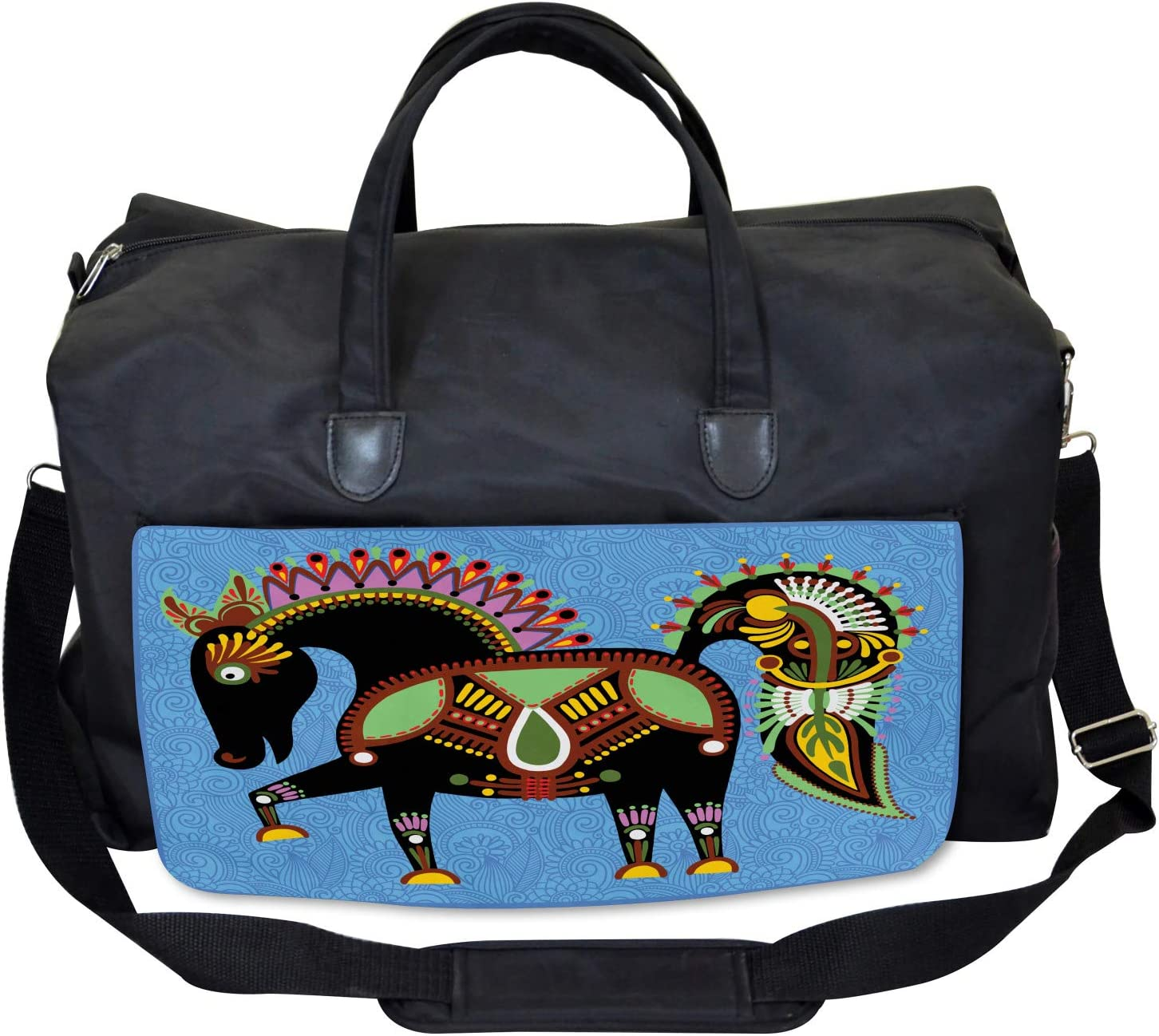 Large Weekender Carry-on Folkloric Animal Figure Ambesonne Ethnic Gym Bag