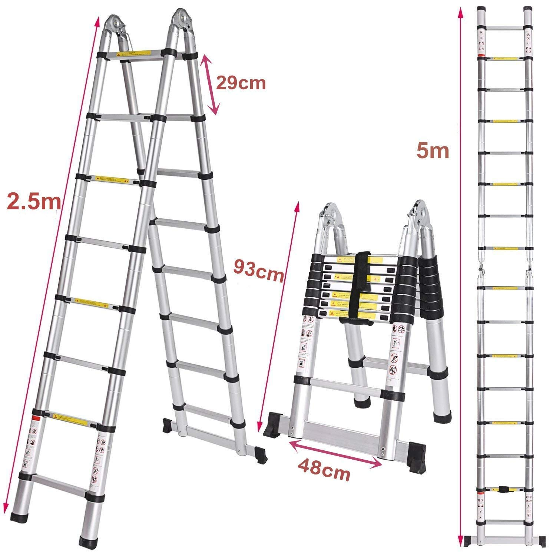 max Traglast: 150 kg Klappleiter Voluker Teleskopleiter aus Aluminium ausziehbar 5 Meter