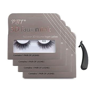 Amazon com : PBT Lash Korean silk 3D faux mink eyelashes-612 (4 pack