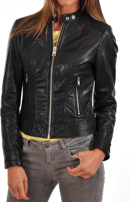 Womens Stylish Lambskin Genuine Leather Jacket WJ168