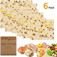 BicycleStore Beeswax Wrap, Set of 6 Reusable Bee Wax Food Wraps Eco Friendly Organic Sandwich Wrappers Zero Waste Sustainable Biodegradable Plastic Free Food Storage (2 Large, 2 Medium, 2 Small)