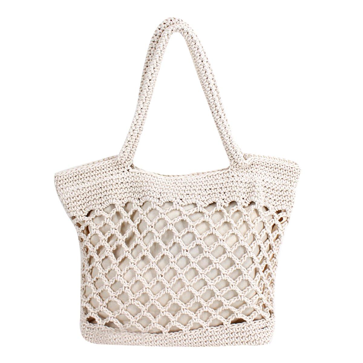 Mily Fashion Women Girls Summer Beach Bag Hollow Out Tote Handbag Net Woven Shoulder Bag Hobo Bag Travel Bag