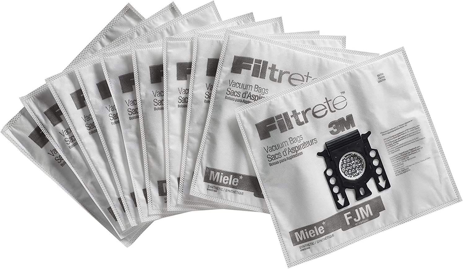 Miele FJM Vacuum Bags HEPA Style Micro Allergen Filtration Vacuum Cleaner Bags Compatible with Miele S400i-S456i, S5000-S5999, S600-S658, S800-S858 Series - 10 Pack 4 Filters by 3M Filtrete
