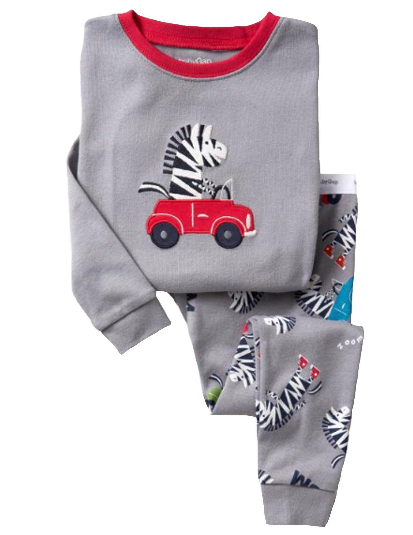 Car Pattern Boy Long Sleeves Pajamas Set 2 Piece 100% Cotton Clothes Toddler Kids Size 2T-7T