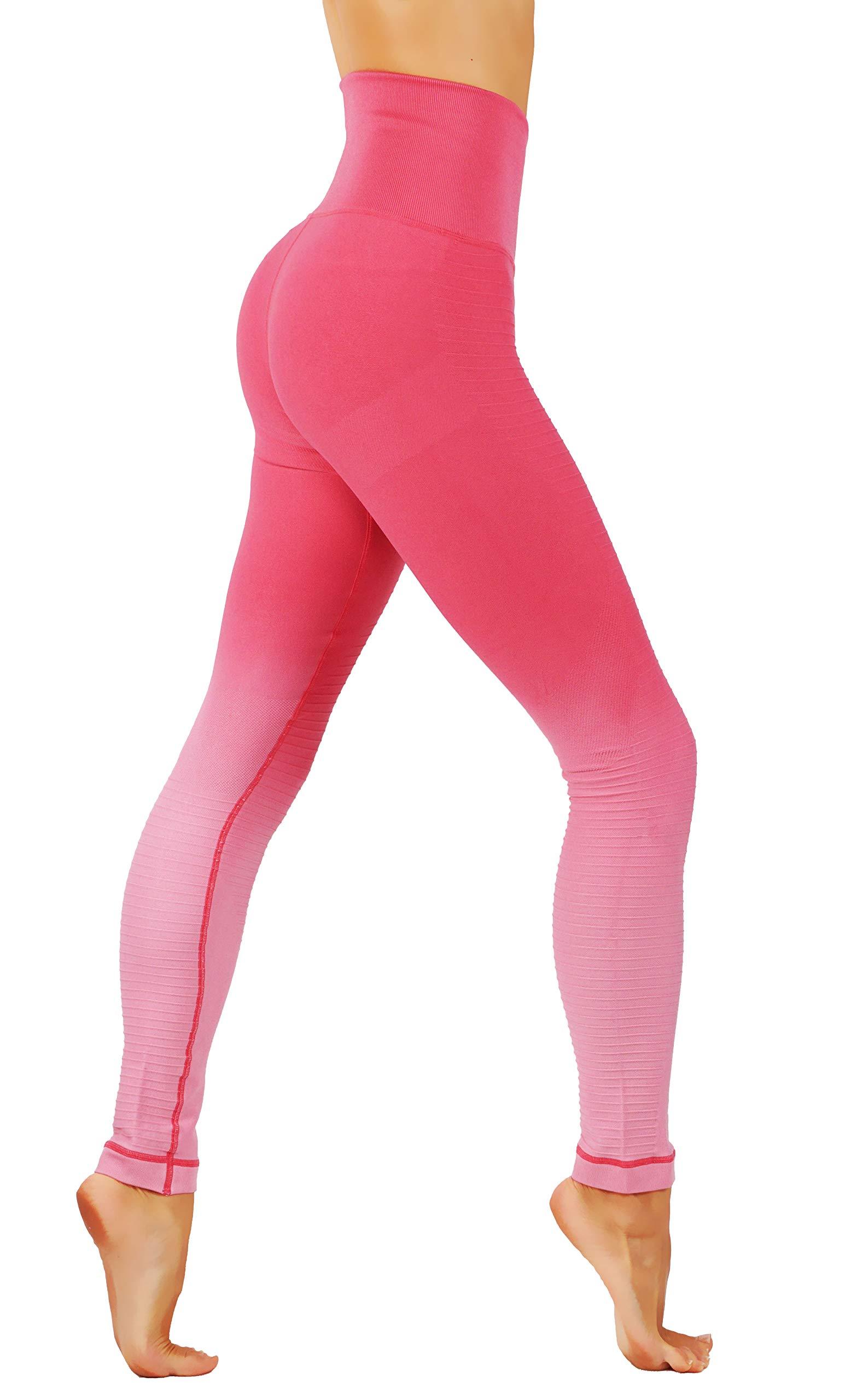 CodeFit Yoga Gym Power Flex Dry-Fit High Compression Pants Workout Women's Leggings (M USA 4-8, CF 702-LPK)