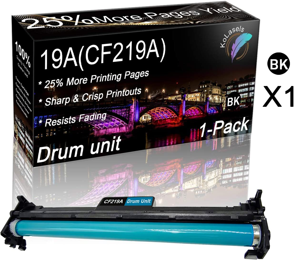 Kolasels Compatible Drum Unit (with Chip) Replacement for HP 19A CF219A Drum Kit to use with Laserjet Pro M102A M102W MFP M130A M130NW M104A M104W MFP M132A M132FW Printer (1Pack, Black)