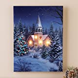 Collections Etc Wintery Church Lighted Wall Canvas
