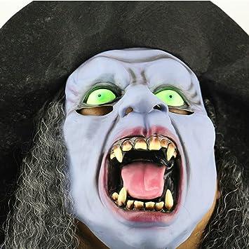 Máscara de bruja, novedad Látex Horror con ojos verdes abierto gran Sangre boca larga lengua