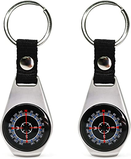 ONE Portable Camping Sport Hike Mini Metal Precise Keychain Outdoor Compass Ring
