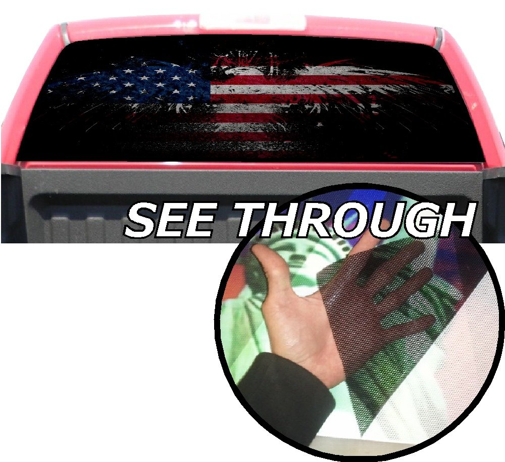 P358 american flag eagle tint rear window decal wrap graphic perforated see through universal size 65 x 17 fits pickup trucks f150 f250 silverado sierra
