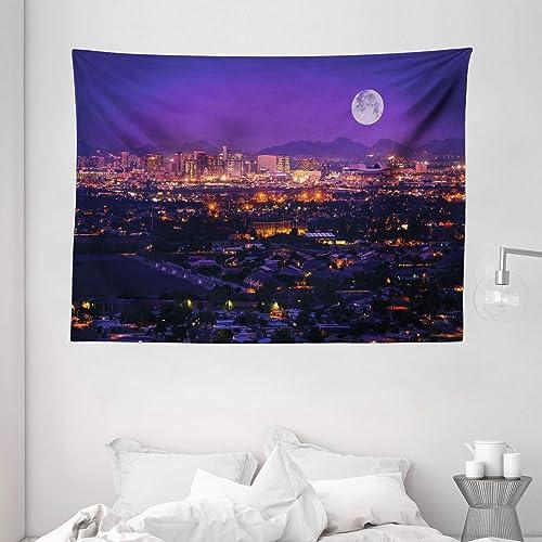 Ambesonne USA Tapestry, Phoenix Arizona Full Moon Sky Over Phoenix Arizona Downtown Residential Areas, Wide Wall Hanging for Bedroom Living Room Dorm, 80 X 60 , Orange Purple