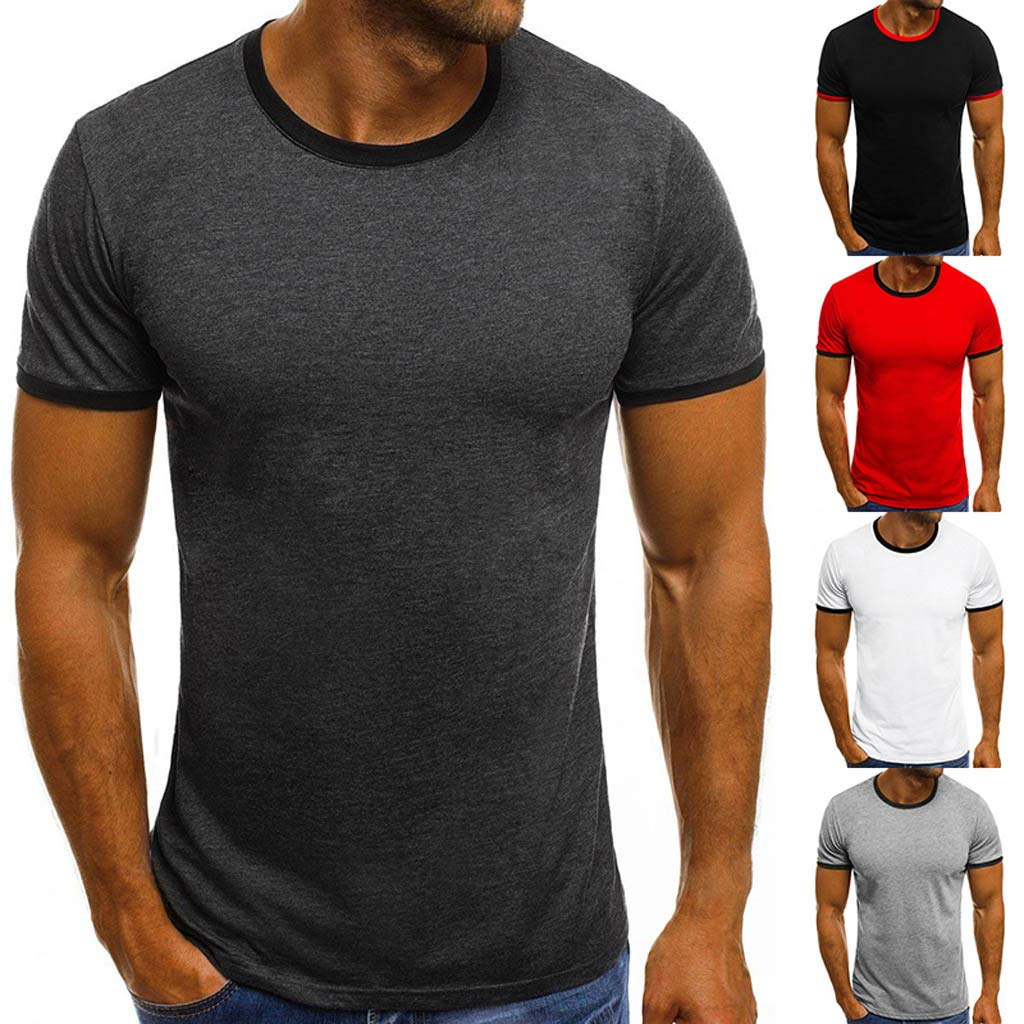 Mens Big /& Tall Short Sleeve Moisture Wicking Athletic T-Shirt,Donci Solid Basic Tee