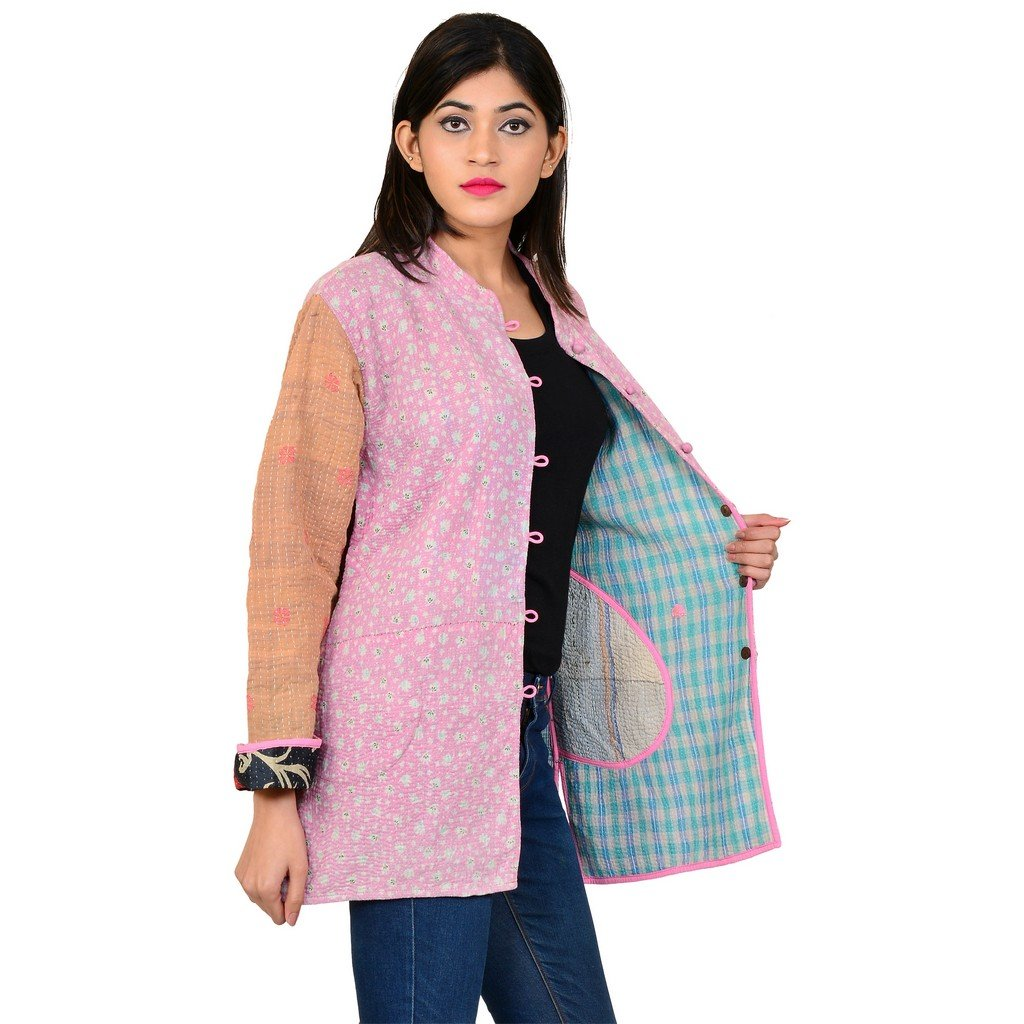 Size: 76 54 61 CM Jaipur Textile Hub Women Girls Ethnic Coat Kantha Work Jacket Outwear Floral Print JTH-NJ-72