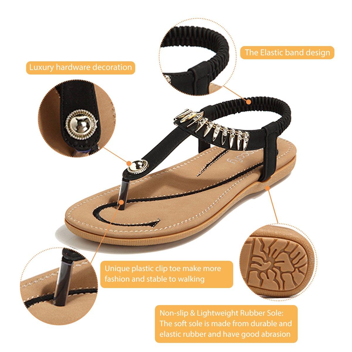 ddd7ec9df3ec92 gracosy Women Summer Low Flat Heel Flip Flop Sandals Slip On Post Thong  Boho Shoes with Rhinestone Roman Sandals Comfy Shoes Clip Toe Beach Sandals  Elastic ...