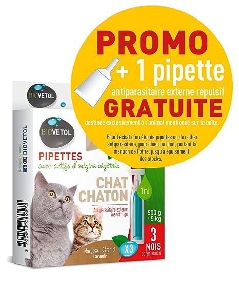 Biovetol pipeta antipulgas para gato y gato (250g a 5 kg ...