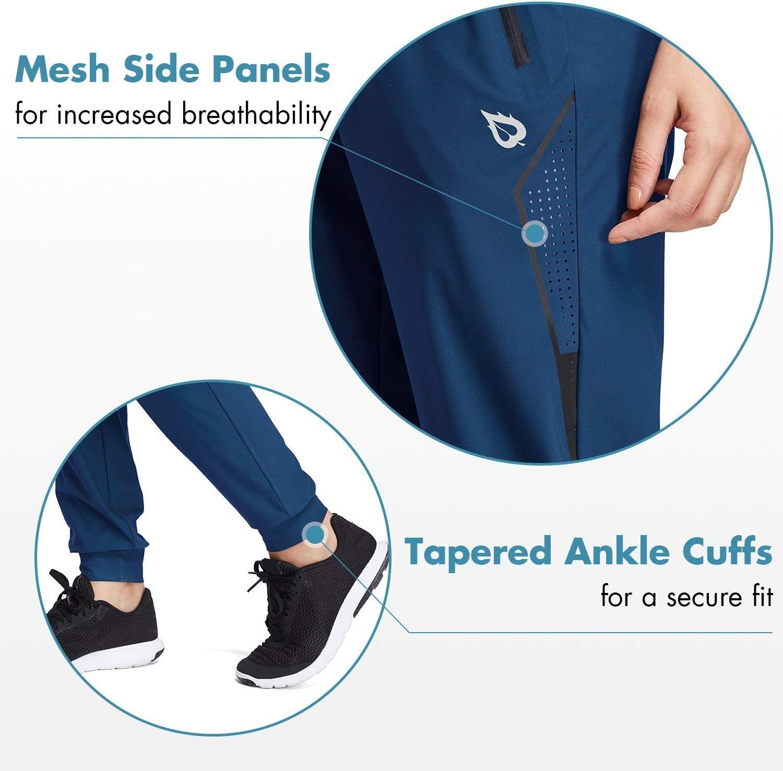 BALEAF EVO Women's Athletic Joggers Pants Dry Fit Running Capri Pants Zipper Pockets Lightweight Sports Yoga Track Pants: Clothing