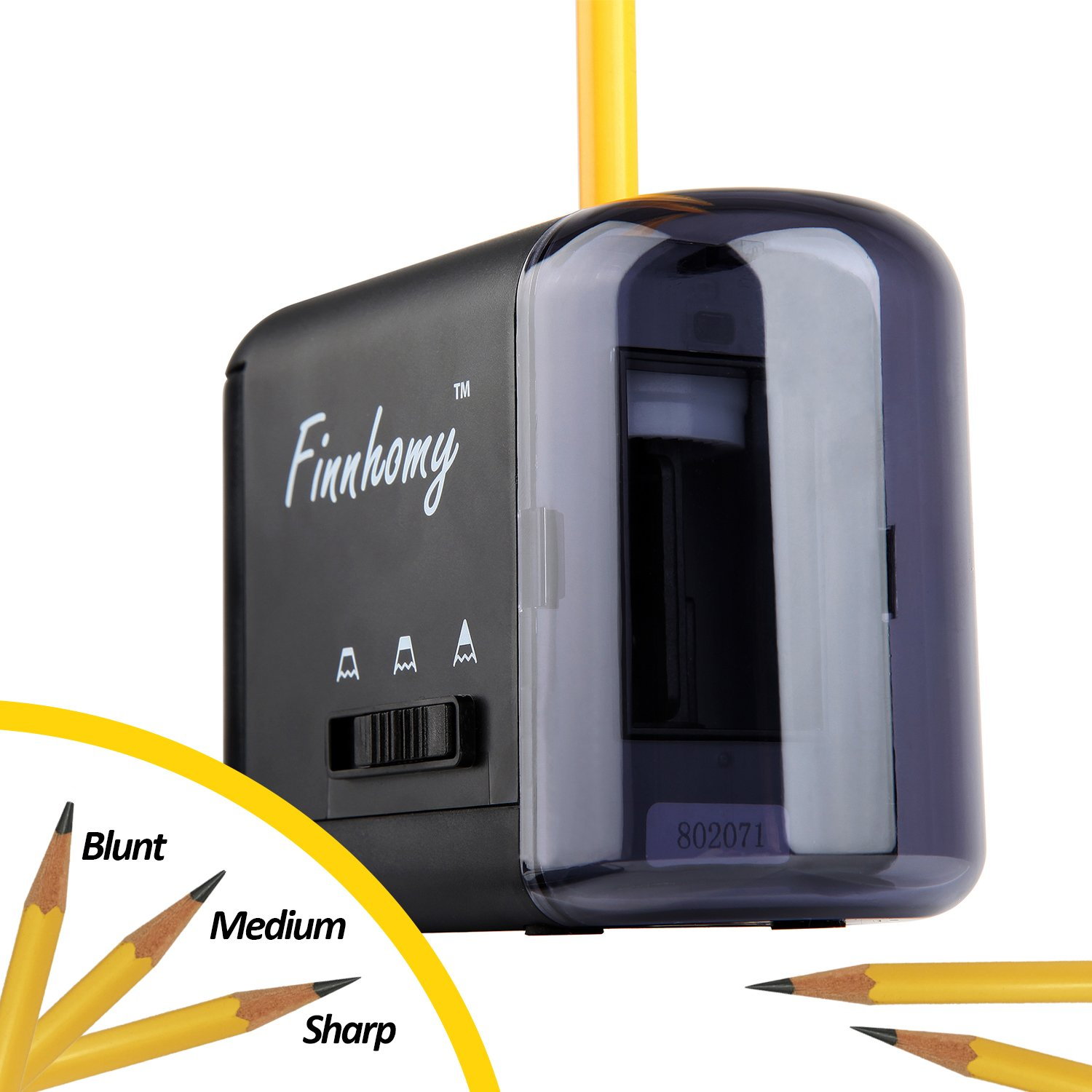 Finnhomy Electric & Battery Operated Pencil Sharpener for Kids Home School Classroom Office, Art & Craft, Works w/Lead & Colored Pencils Automatic Pencil Cutter - Black by Finnhomy