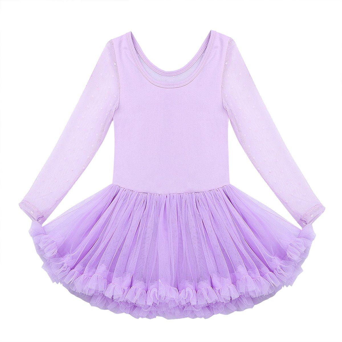 YiZYiF Vestido Ballet Tutú de Algodón Niñas Maillot Danza Clásica Manga Larga de Encaje Vestido Princesa Leotardo Traje Bailarina Actuación 2-9 Años