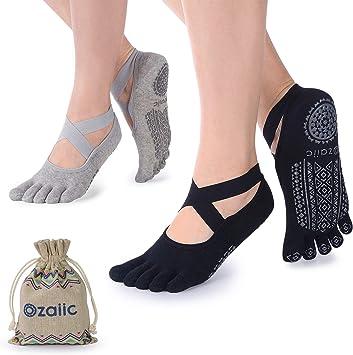 Amazon.com: Calcetines de yoga para mujer con agarres ...