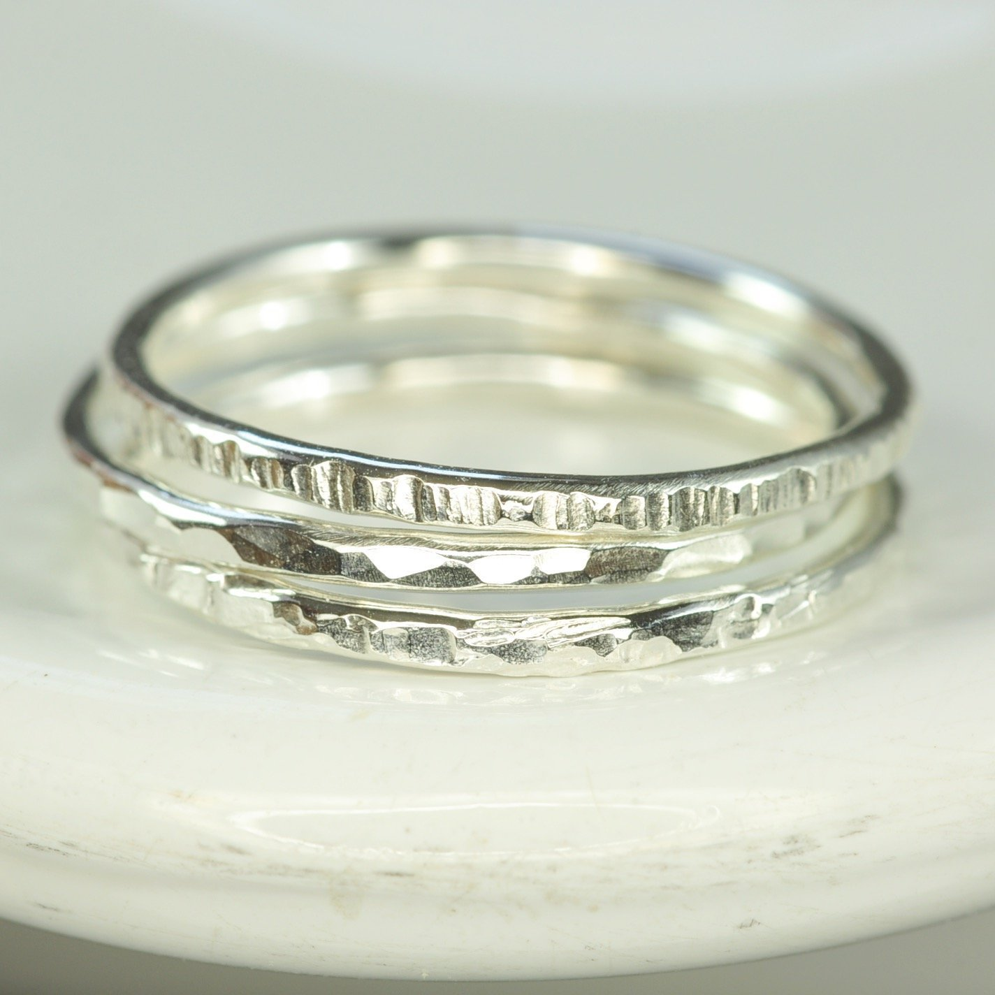 Stacking Silver Rings Silver Rings Set of 2 Silver Rings,Hammered Skinny Rings,Silver Skinny Rings Seamless Rings Stacking Rings