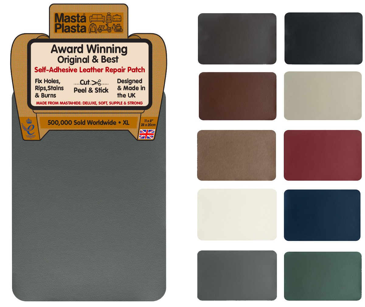 MastaPlasta Self-Adhesive Leather Repair Patch. New XL 28cmx20cm. Choose colour. First-aid for sofas, car seats. Fix holes, rips, burns, stains (BEIGE XL, BEIGE) MastaPlasta Ltd