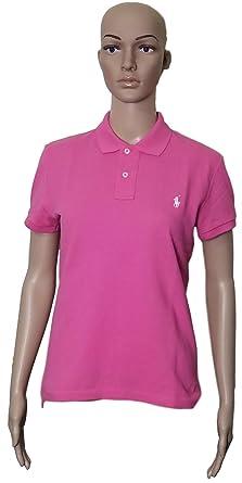 Polo Ralph Lauren Women\u0027s Classic Fit Mesh Polo Shirt (X-Small, PinkWhitPny)
