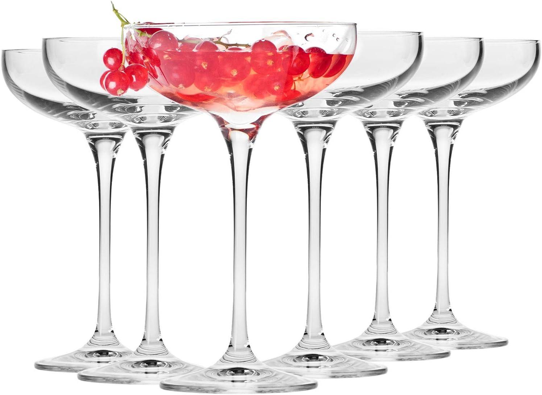 Krosno Copas Flauta Boda de Champán Vasos   Conjunto 6 Piezas   240 ML   Harmony Collection Uso en Casa, Restaurante y en Fiestas   Apto para Microondas y Lavavajillas
