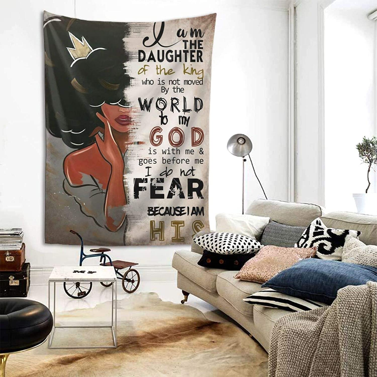 Black Art Wall Tapestry African American Tapestries Hippie Art Wall Black Queen Decoration Wall Hanging Tablecloth Bedroom Living Room Dorm Room Best Gift, 60x80 Inch