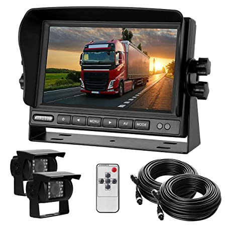 Dual Backup Camera with Monitor Kit System 12-24V 7 HD Monitor Reversing 2 Rear View 170 Wide Angel Night Vision Waterproof,18 Infrared Lights Camera Fit for Trucks RV Van Campers Vehicles.