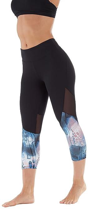 e9c3d32f3219f Balance Collection Women's Spliced Capri Legging, Black/Zephyr Chakra  Cloud, Small