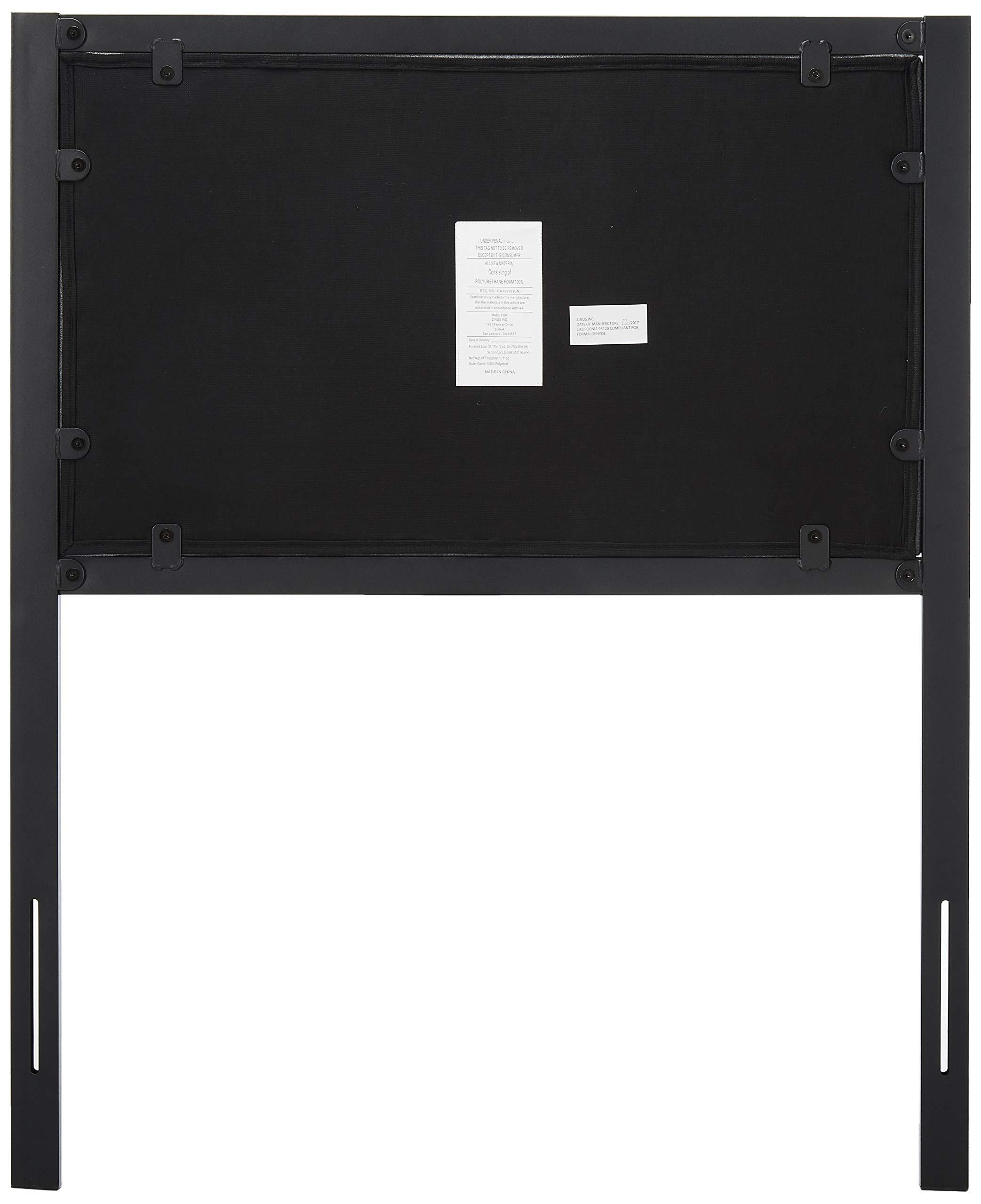 Zinus Anuar Banded Grey Upholstered Metal Headboard, Twin