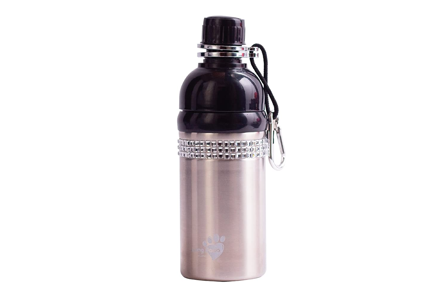Good Life Gear Stainless Steel Pet Water Bottle 16-Ounce Brushed Silver with Bling Design