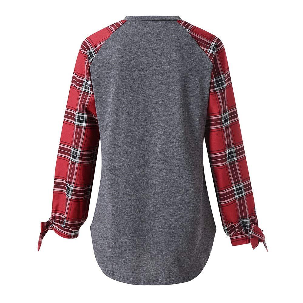 Luckycat Mujer Casual Plaid Manga Larga Pullover Blusa Camisas ...