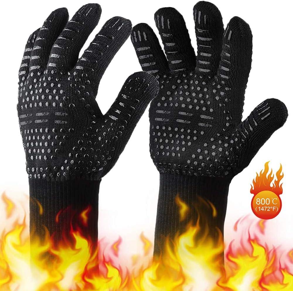 Cuisson au four Gants Barbecue Chemin/ée Design Unique et Double R/ésistant Heat Gants pour BBQ Gants de Four en Silicone Antid/érapants Jusqu/à 800/°C avec Protection Suppl/émentaire de lavant-bras