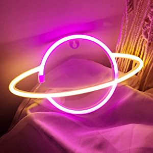 iceagle Planet Light Neon Signs Neon Lights for Wall Decor,USB or Battery LED Signs for Bedroom, Decorative Neon Light Sign for Christmas,Birthday Party, Living Room, Girls,Kids Room